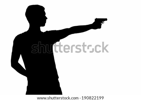 young man took aim of silhouette of gun, isolated on white - stock photo