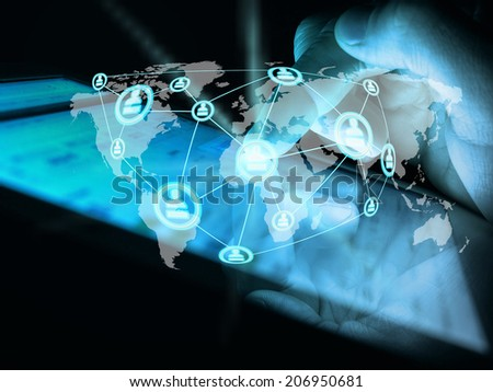 Young man touching future technology social network button - stock photo
