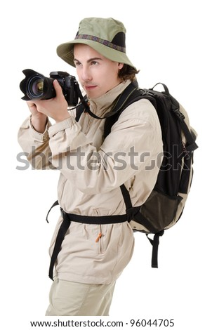 young man - tourist with backpack on a white background - stock photo