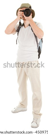 young man tourist with camera on white - stock photo