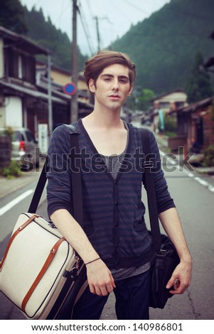 Young man travel around Japan