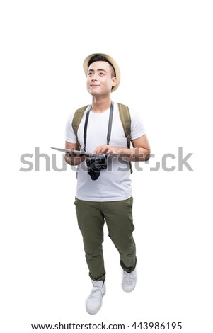 Young Man Travelling using tablet isolated on white.