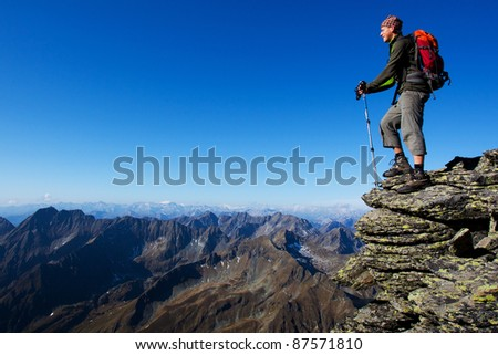 Young man trekking in the mountains