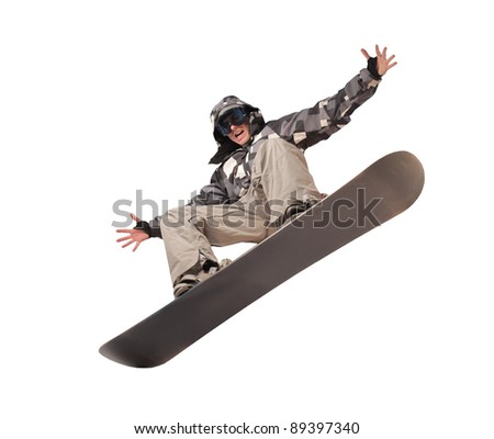 Young man using a snowboard