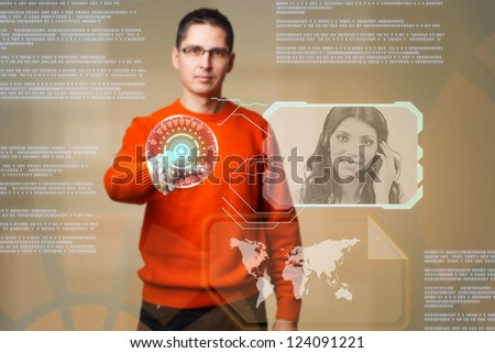 Young man using digital interface to communicate - stock photo
