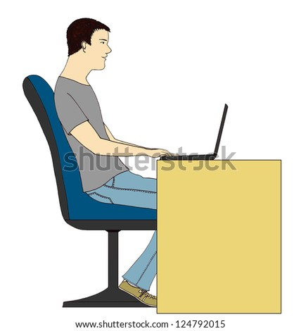 Young man using his laptop
