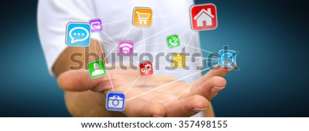 Young man using modern application with his hand