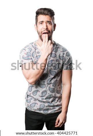 young man vomit gesture - stock photo
