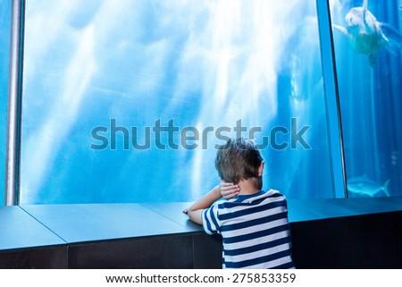 young man waiting in front of an aquarium at the aquarium - stock photo