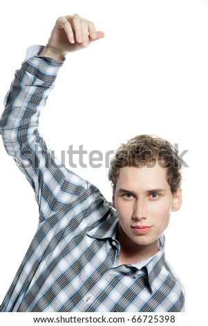 young man waving goodbye over white - stock photo