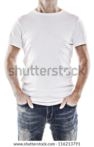 Young man wearing a blank white t-shirt - stock photo