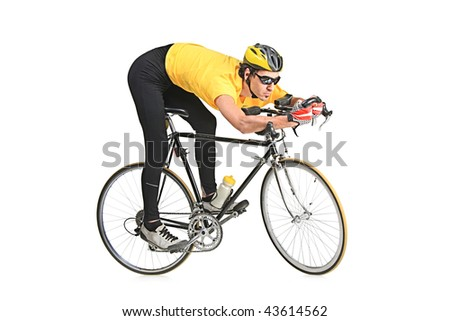 Young man wearing a yellow shirt riding a bicycle isolated on white background - stock photo