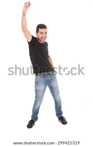 young man wearing jeans posing with fist up isolated on white - stock photo