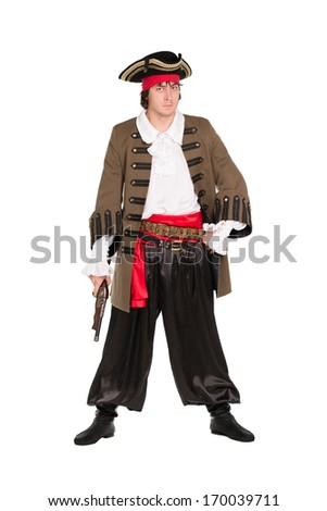 Young man wearing pirate costume with a pistol. Isolated on white