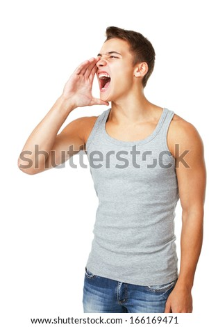 Young man wearing T-shirt shouting isolated on white background - stock photo