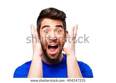 young man winner gesture - stock photo