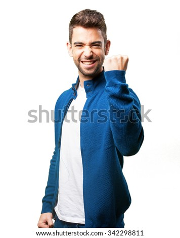 young man winning - stock photo