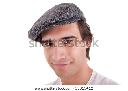 young man with a beret, isolated on white background. Studio shot. - stock photo