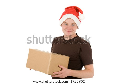 young man with a christmas cap and a  blank package (blank for your own text)