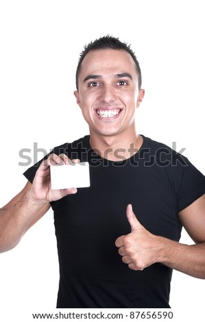 young man with a credit card and finger raised - stock photo