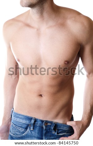 Young man with a defined body - stock photo