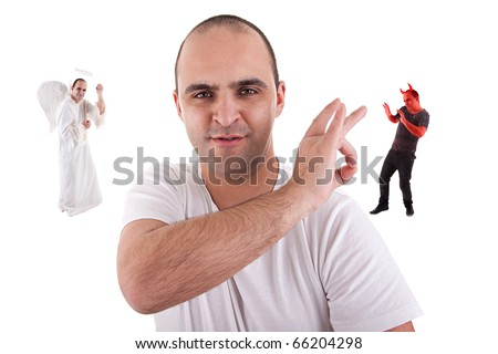 young man with a finger removing the devin,  from is on the shoulder, angel won, isolated on white - stock photo