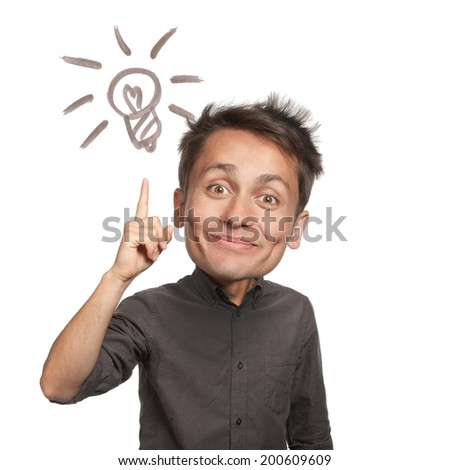 "Young man with a forefinger up, ""got idea"" gesture, light bulb sign, isolated - stock photo"