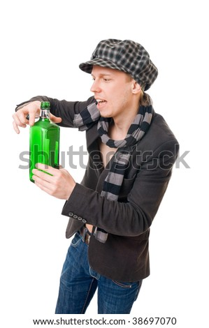 Young man with a green bottle isolated on white