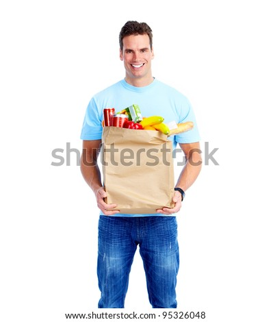 Young man with a grocery shopping bag. Isolated on white background.