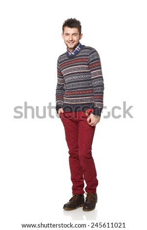 Young man with a heart-shaped gift isolated on white background.Valentine's Day