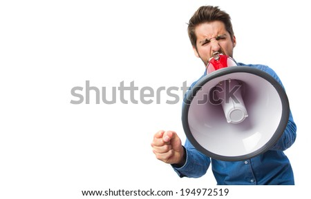 young man with a megaphone - stock photo