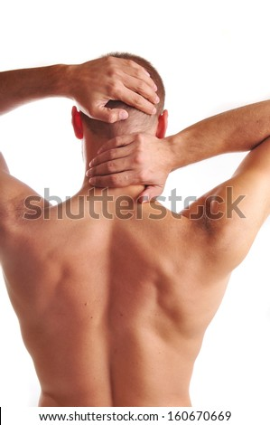 young man with a pain in the neck and head - stock photo