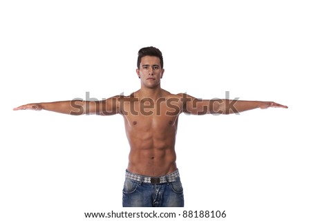 Young man with a perfect muscle body (isolated on white) - stock photo
