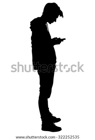 Young man with a phone on a white background - stock photo