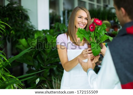 Young man with a plant - stock photo