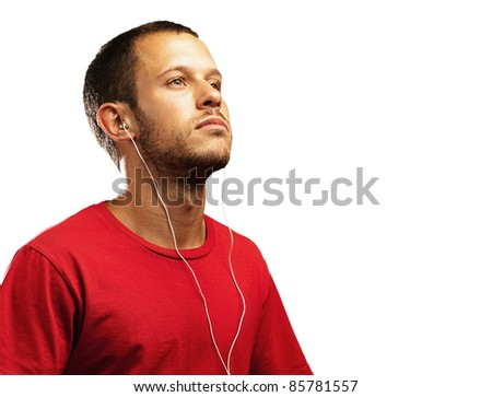 young man with a red shirt on a white background - stock photo