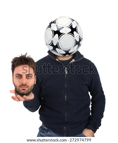 Young man with a soccer ball instead of the head on white background. - stock photo