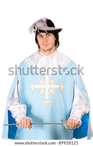 Young man with a sword dressed as musketeer. Isolated on white - stock photo