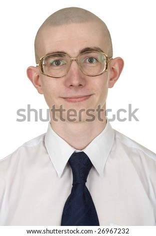Young man with a tie and eyeglasses on a white background - stock photo