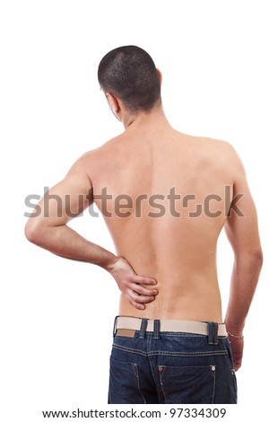 Young man with back pain, isolated in white background - stock photo
