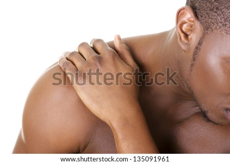 Young man with back pain , isolated on white - stock photo
