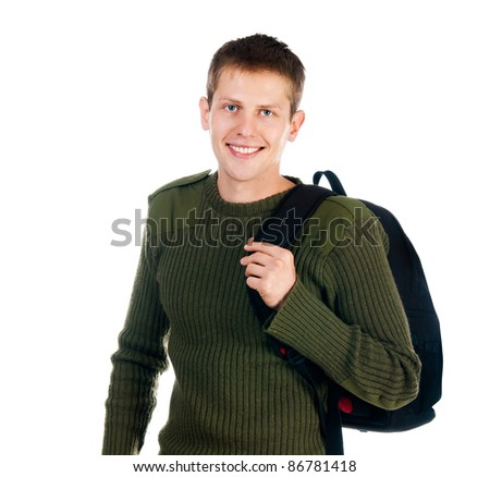 young man with backpack isolated on white