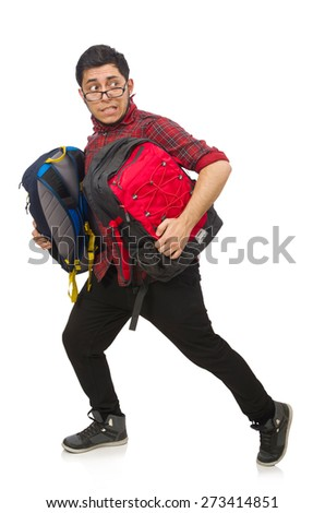Young man with bags isolated on white - stock photo