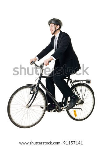 Young man with bicycle and helmet isolated on white background - stock photo