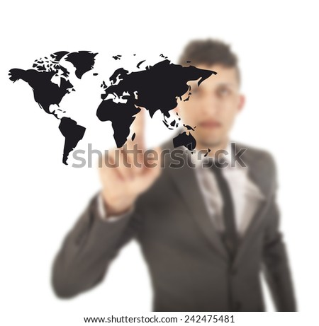 Young man with black world map isolated on white background - stock photo