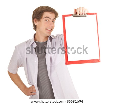 young man with blank clipboard, white background, series - stock photo