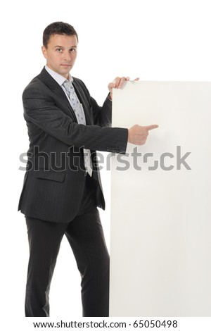 young man with blank sheet - stock photo