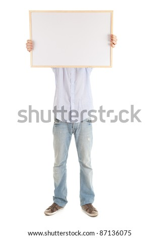 young man with blank sign, white background - stock photo