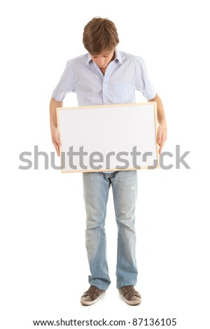 young man with blank sign, white background