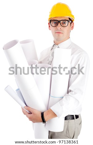 Young man with blueprints. Isolated over white. - stock photo